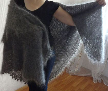 405 Шаль пуховая « Мороз нипочём!» оренбургский пуховый платок пода - Orenburg warm shawl
