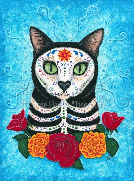 Prints - Day of the Dead Cat-Day of the Dead Cat, Día de los Muertos Gato, sugar skull, cat, black cat, marigolds, roses, cat skull, cat skeleton, Mexican holiday, Mexico, All saints day, All souls day,
