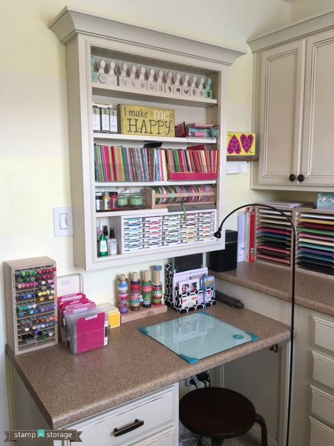 At one point, Brenda M had attempted to make her own craft storage.   After weeks of wasted time and money, she began looking online for vendors who specialized in craft storage and came across Stamp-n-Storage. She loved our pieces right away and eventually built a craft room that really maximized her storage.  You won't want to miss seeing photos of this gorgeous craft studio!