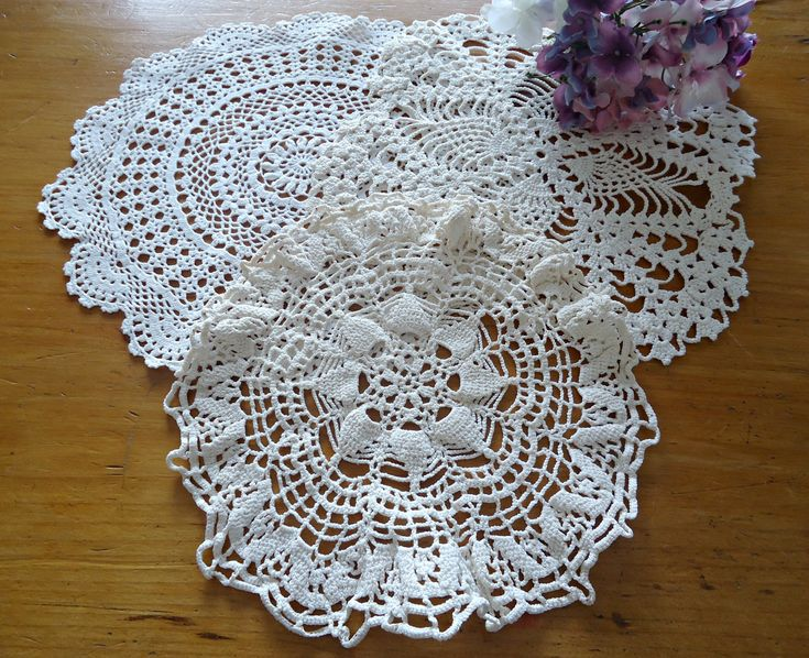 3 Doilies Doily Crocheted Doily Ecru Vintage Doilies  G14 by TreasureCoveAlly on Etsy