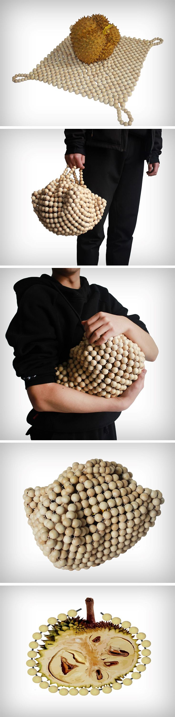 "How does one buy and carry the durian then? It tears through most plastic bags (""duri"" means spiky in the Malay language) and can often hurt palms when carried by hand. Designers from Wenzhou College developed a bag especially for carrying the Durian safely. Its construction involves a mesh of paper balls that create a perfect container for the spiky durian."