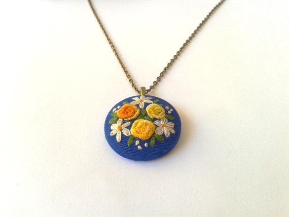 Spring roses in blue hand embroidered jewelry necklace