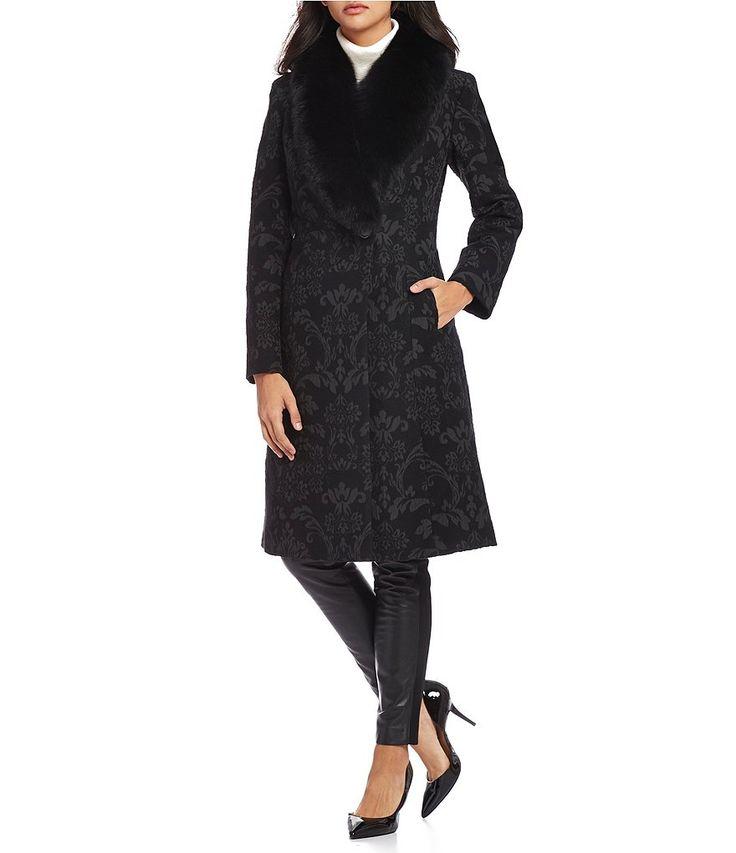 Katherine Kelly Real Fox Fur Shawl Collar Brocade Coat