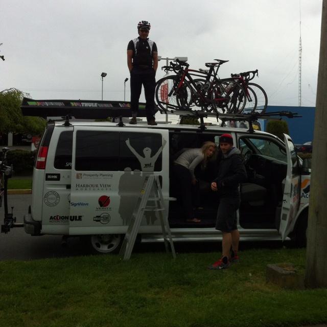 Accent Inns / Russ Hays race team members loading the Team Van
