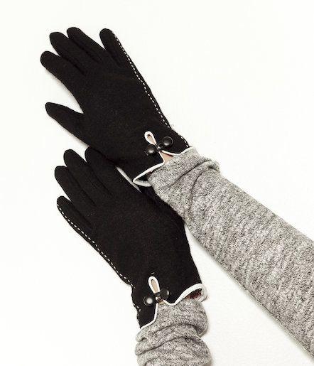 Rękawiczki z wełnianej dzianiny