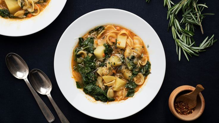Some soups are light and refreshing preludes to a meal; others, like this one, are an entire meal in a bowl Pasta and potatoes, like pasta and beans, are frequently combined in Italian vegetable dishes The potatoes should be starchy, like Yukon Golds or russets, so that they lend body to the broth