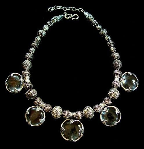 Brisingamen Necklace. A rock crystal & sterling silver necklace based on a 11th - 12th c, Viking relic from a areological find in Havdhem, Gotland (Sweden).