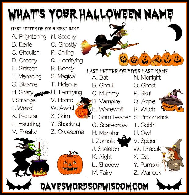 daveswordsofwisdomcom whats your halloween name - Halloween Name Ideas