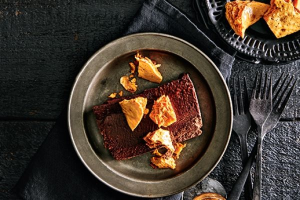Our chocolate whisky pavé with sponge toffee is sinfully good. Happy Valentine's Day! Photo by Ronald Tsang.