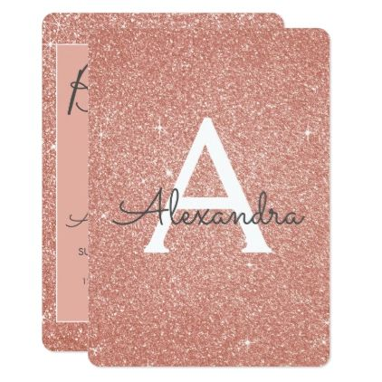 Rose Gold Sparkle Glitter Girly Birthday Party Card - glitter glamour brilliance sparkle design idea diy elegant