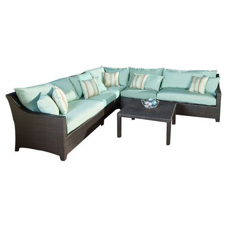 6 piece cabo outdoor sectional sofa set in light blue at for Sectional sofa joss and main