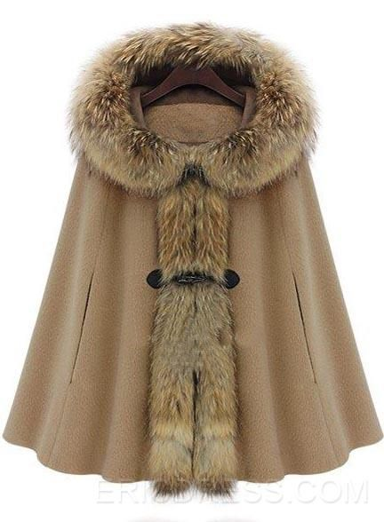 Elegant Fur Collar Hooded Cape-style Overcoats Coats- ericdress.com 10788824