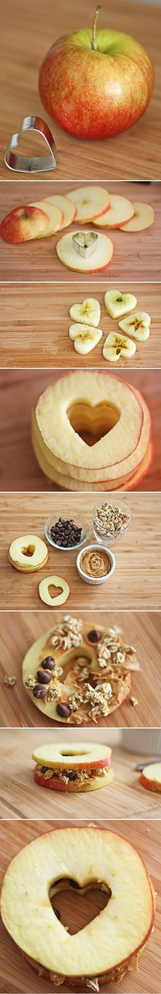 apple heart sandwiches - I love these for a romantic picnic! :)