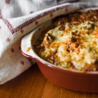 Indulgent beef and cheddar cheese casserole