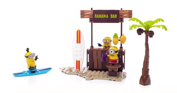 Surf's up and the beach is looking fine at Beach Day by Mega Bloks Despicable Me™. Put on your hula skirt and dance your way to the Banana Bar for an afternoon of fun and laughs with the Minions. You can build three super customizable Minions and mix and match their beach accessories. Hop on a surfboard and ride the waves! Just don't go out too far without proper supervillain supervision! Ideal for ages 5 and up Features: Three buildable Minion characters with interchangeable parts including…