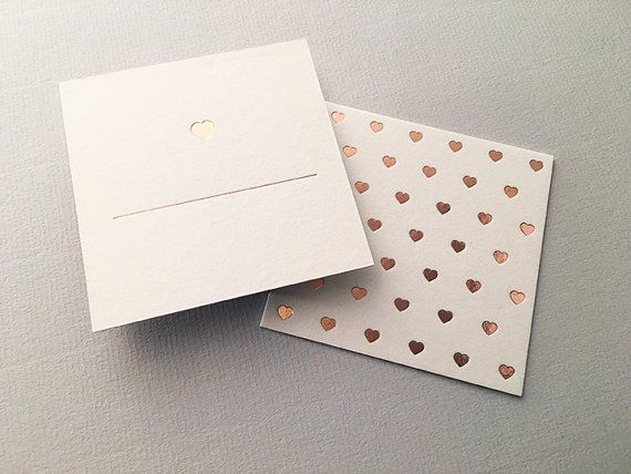 Rose gold foil stamped place cards for weddings