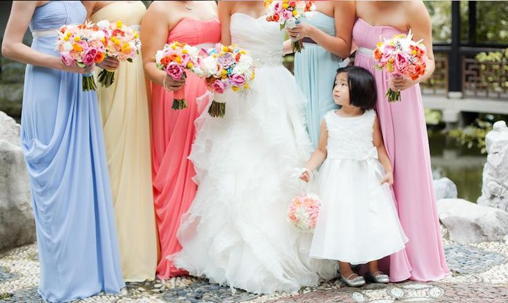 Bridesmaid pastel dresses #wedding #sposa