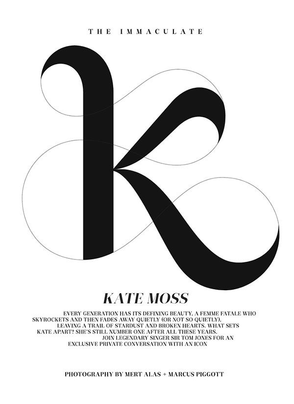 K lettering | graphic design. visual communication. typography. publication design. editorial design. drop cap. script type. decorative type. decorative typography. layout.