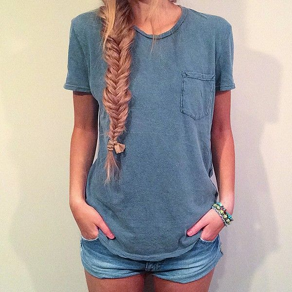 simple: jeans and tee + fishtail = hello summer
