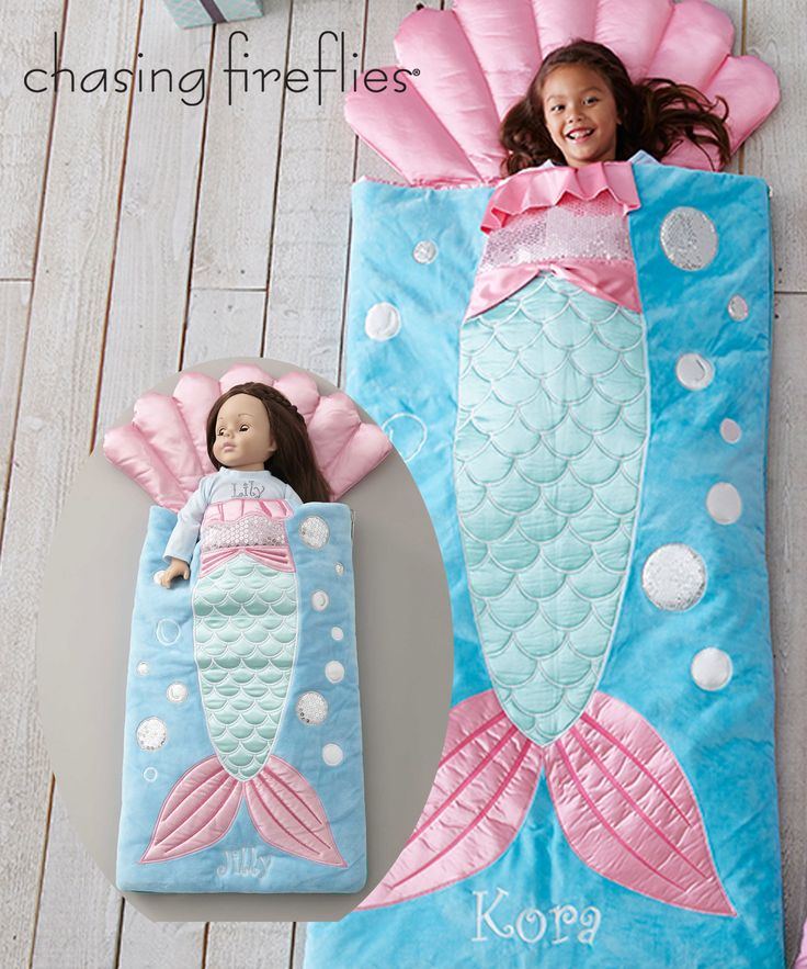 Dolls Personalized Mermaid Sleeping Bag - Exclusively Ours - Personalize This Item Dolls can dream away in this luxurious (and adorable) sleeping bag. Dressed up with sequins and satin appliqués, it has an attached shell pillow.