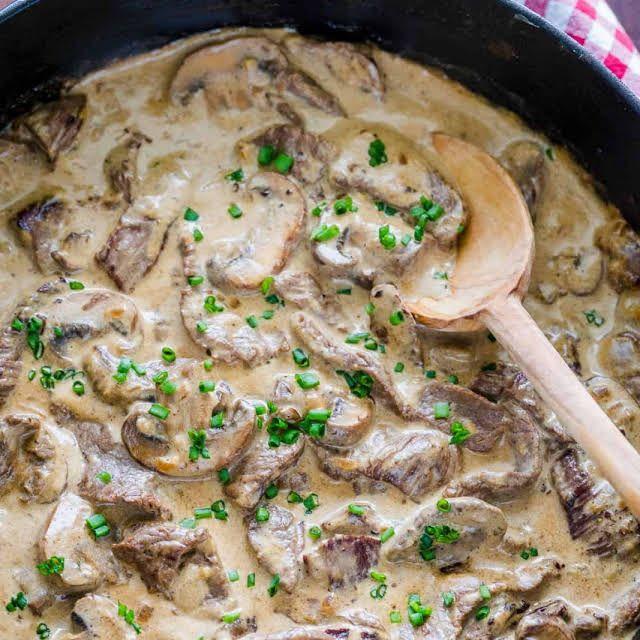 Beef Stroganoff With Top Sirloin Steak Olive Oil Butter Medium Onion Brown Mushrooms Garli Stroganoff Recipe Beef Stroganoff Easy Homemade Beef Stroganoff
