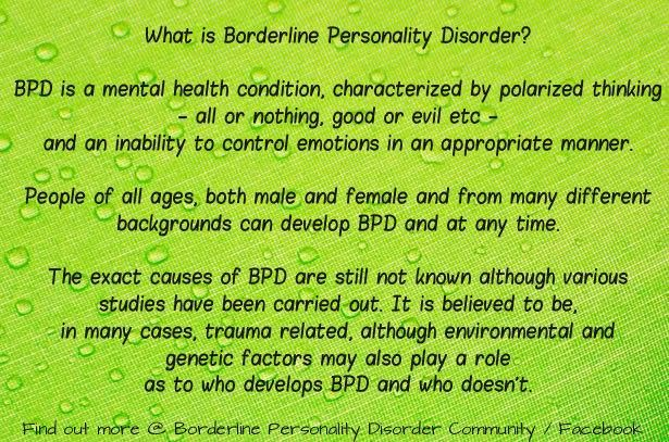 the description of the controversial psychiatric condition borderline personality disorder Borderline personality disorder in adolescents 2015 edition  jim morrison: understanding borderline personality disorders slade books borderline personality disorder 4 2  a problem specific to bpd but found in other mental disorders also (o'loughlin et al, 2011.