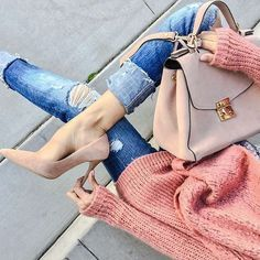 Chunky knits and denim