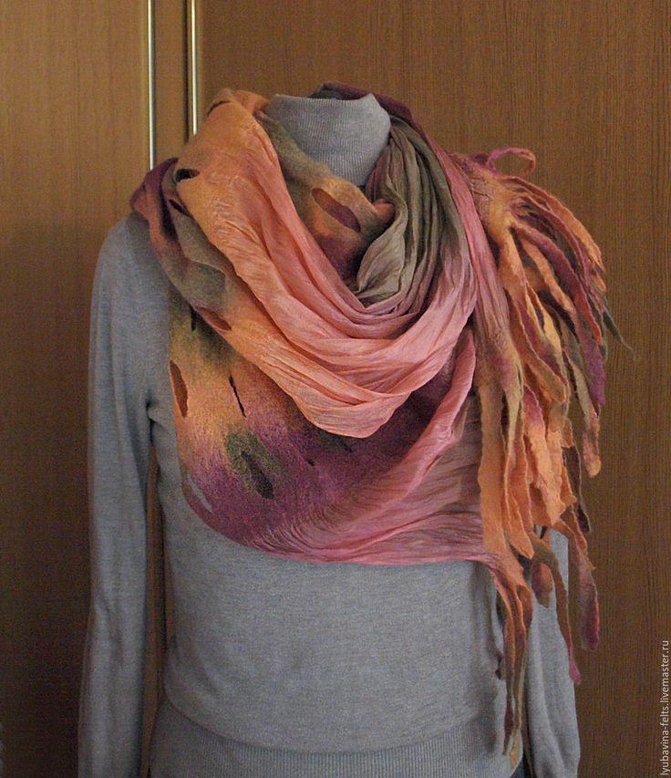 scarf, handmade scarf, stola, felting, Купить Шарф валяный Ранняя осень - шарф, палантин, войлок, валяный шарф, валяный палантин