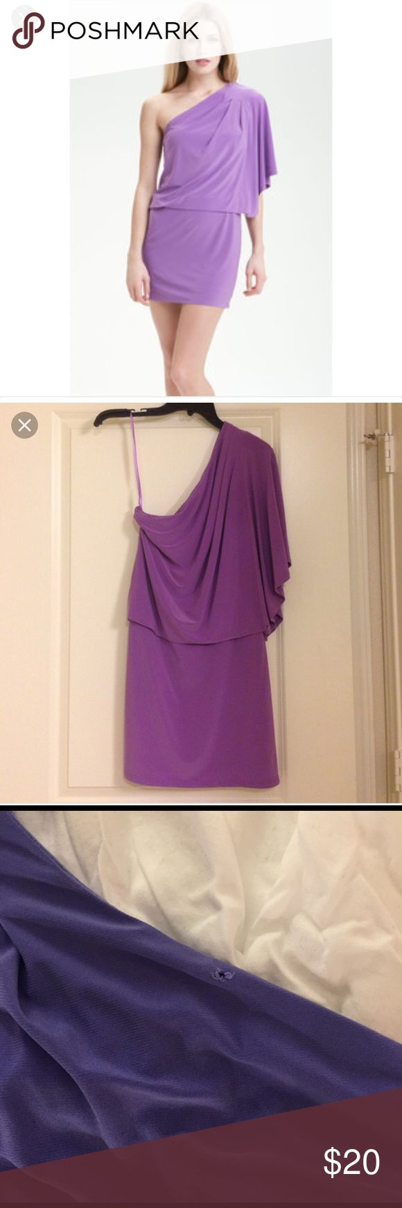 Jessica Simpson purple one shoulder dress Jessica Simpson one shoulder dress, purple with a small hole in the back at the neck. Third picture shows this small defect. Wear your hair down and you won't see. Size small. Cute going out dress. Never worn. Jessica Simpson Dresses Mini