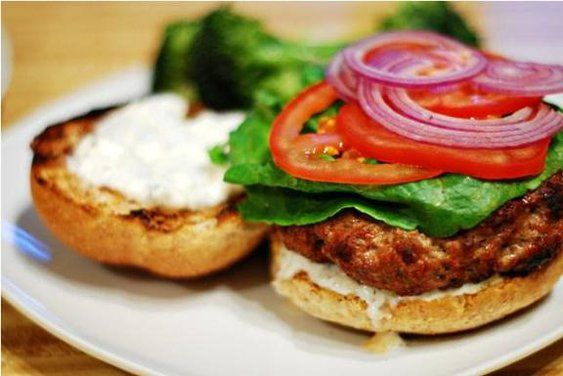 Balsamic Reduction Burger with Warm Goat Cheese Spread