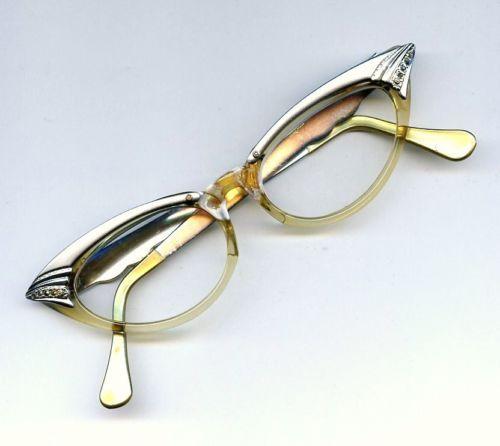 Vtg Styl Rite 44 22 5 1 4LO Womans Silver Aluminum w RS Horned Cat Eye Glasses | eBay