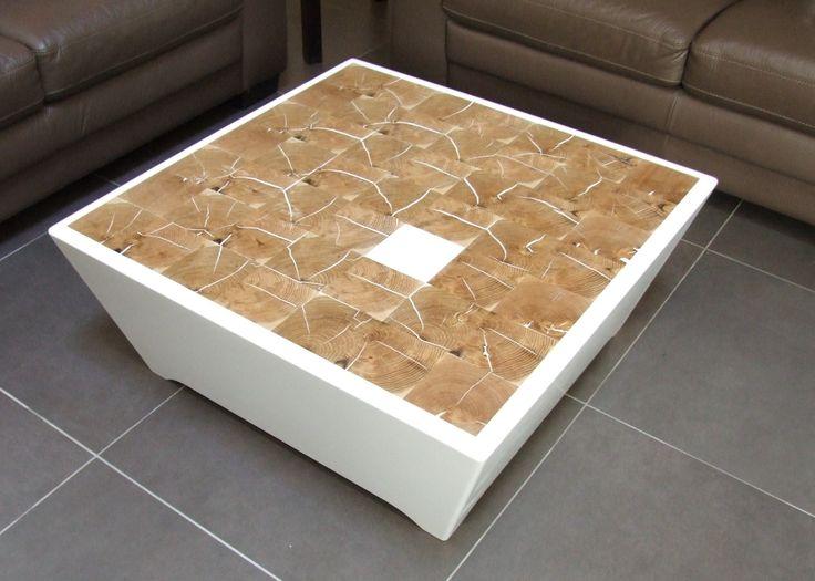 Table basse en Résine Solid Surface et bois de bouts. Mobilier sur mesure by L'Hirondelle. http://hirondelle37.com/ #menuiserielhirondelle #meubledesign #meublesurmesure #mobiliersurmesure #handmade #smile #photography #art #home #style