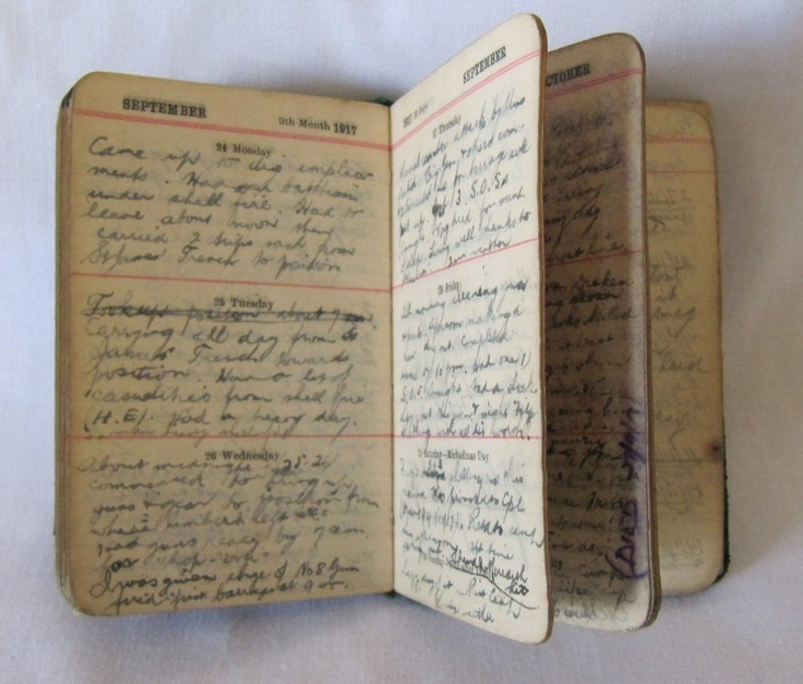 World War One diary that Daniel Bowman wrote in every day while in France from the Bowman History Room Collection on Flinders Island