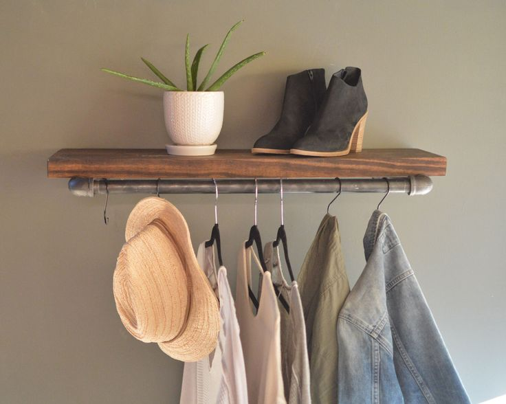 Clothing Display Rack With Floating Shelf Industrial Retail Fixture Farmhouse Style