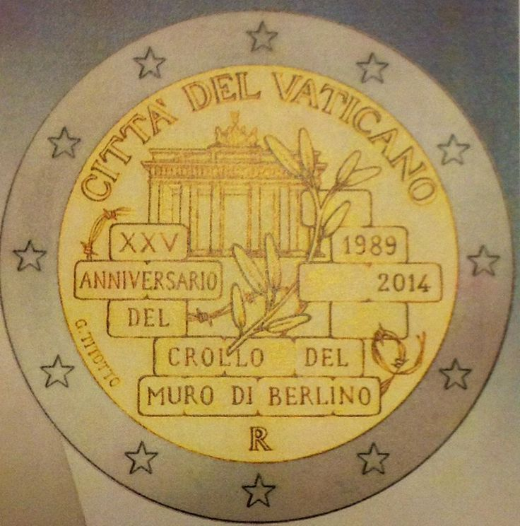 N♡T.2 euro: 25 Years since the Fall of the Berlin Wall.Country:	 Vatican City Mintage year:	2014 Face value:	2 euro Diameter:	25.75 mm Weight:	8.50 g Alloy:	Bimetal: CuNi, nordic gold Quality:	Proof, BU, UNC