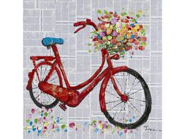 Bicycle with Flowers Oil Painting on Canvas