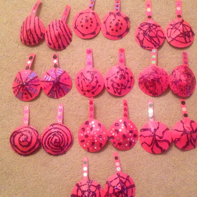 the gaga bra decorations i made for my think pink fundraiser for breast cancer awareness - Breast Cancer Decorations