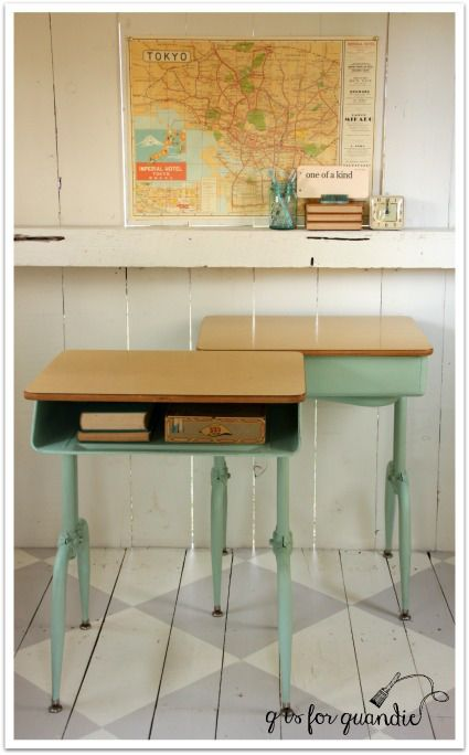 Upcycled or recycled vintage desks. Too cool for school. TWO! By @Quandie.