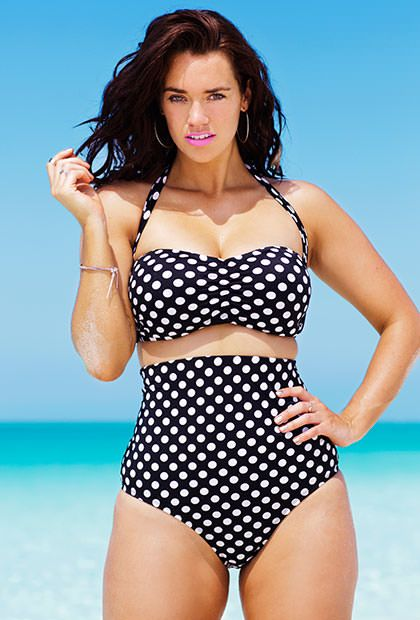 Swim Sexy Polka Dot Plus Size Bandeau/Halter High Waist Bikini Not sure I could pull this off but it is super cute