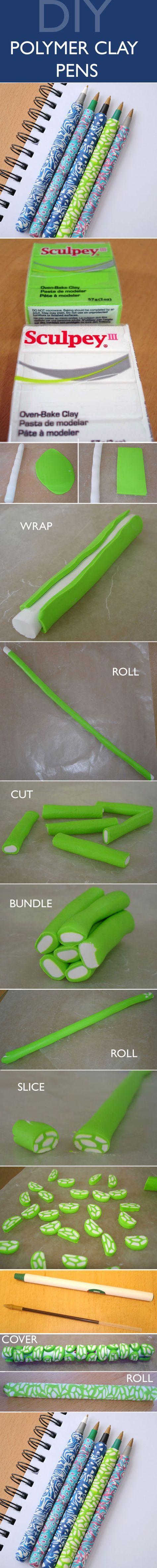 Easy tutorial to make polymer clay covered pens // Tutorial para hacer lápices decorados con arcilla plástica