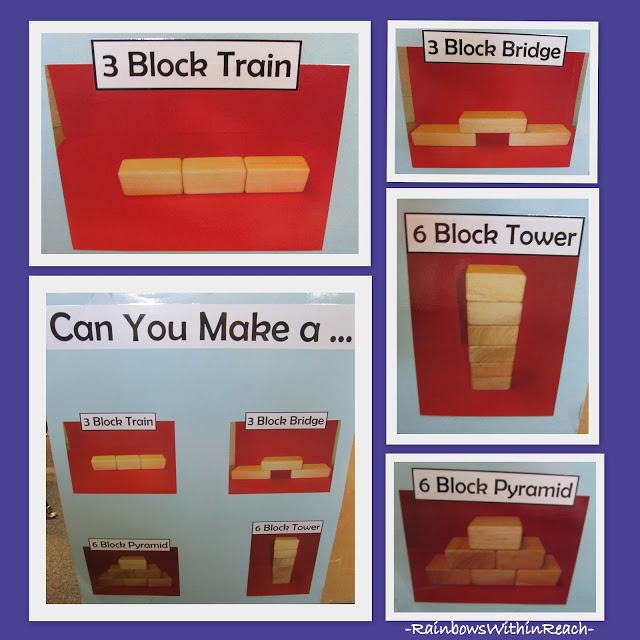 Hang foto's van door de kinderen zelf gemaakte werkstukken en laat ze zichzelf nabouwen of verbeteren!>Use photos of block formations and have children copy themselves with blocks. Great idea!