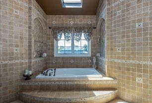 Mediterranean Hot Tub with Skylight, exterior stone floors