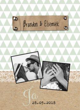 Hippe trouwkaart met fotootjes van bruidspaar en bruiloft | Brandon & Elsemiek | karton met foto's