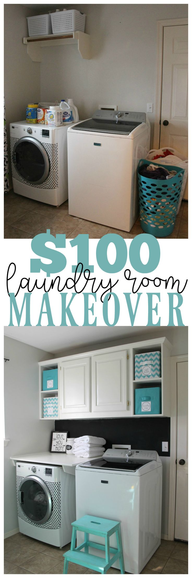 Makeover your laundry room for less than $100 and add more storage.