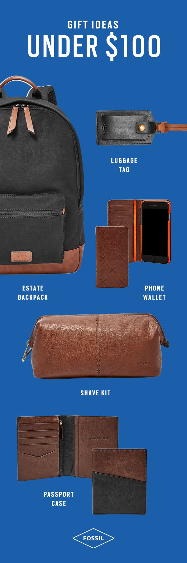 Our top 5 must-have gifts under $100 to give him this year—think leather wallets, passport cases, a personalized luggage tag, backpacks and shave kits. Perfect for a tech-savvy dad, husband or brother!