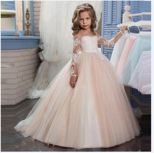 Kids Infant Baby Girl à manches longues Off épaule Dentelle Fête de mariage princesse robe