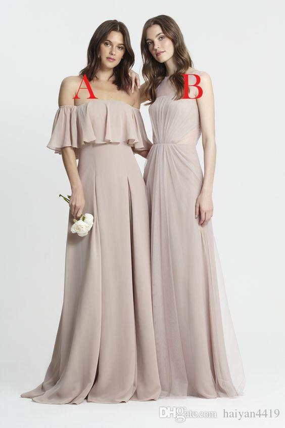 2017 new long bridesmaid dresses off shoulder wedding for Wedding guest dress blush pink