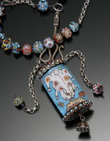 'Beasts at Play' Reversible pendant with rabbit and tiger micromosaics in polymer clay set in sterling silver.