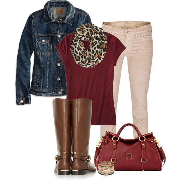 Mossimo Women's Dressy Tee (burgandy) and burg bag/cream pants/denim jacket/brown boots