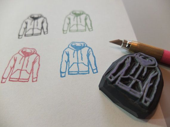 Hoodie. Hand carved rubber stamp. by HandCarvedStamps on Etsy